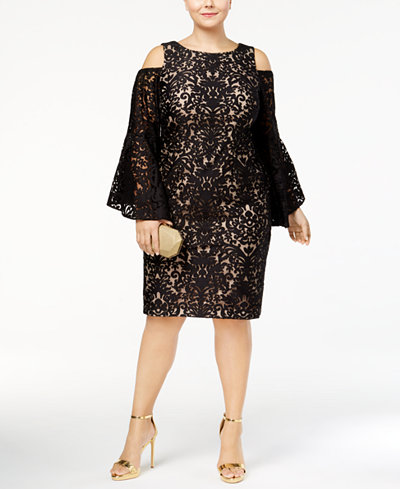 Xscape Plus Size Lace Bell-Sleeve Cold-Shoulder Dress - Dresses ...