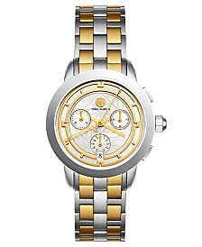 Tory Burch Women's Tory Classic Chronograph Two-Tone Stainless Steel Bracelet Watch 38mm