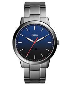 Fossil Men's The Minimalist Smoke Stainless Steel Bracelet Watch 44mm