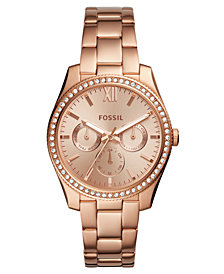 Fossil Women's Scarlette Rose Gold-Tone Stainless Steel Bracelet Watch 38mm