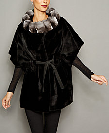 The Fur Vault Chinchilla-Trim Mink Fur Belted Cape