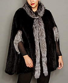 The Fur Vault Plus Size Fox-Trim Knitted Mink Fur Cape