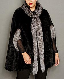 The Fur Vault Plus Size Fox-Trim Knitted Mink Fur Cape