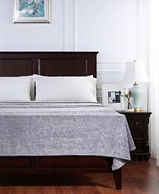 Berkshire VelvetLoft® Frosted Floral Damask Scroll Plush Blanket