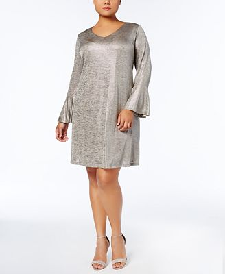 Connected Plus Size Metallic Bell-Sleeve Dress