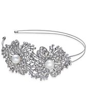 I.N.C. Silver-Tone Imitation Pearl Crystal Flower Headband, Created for Macy's