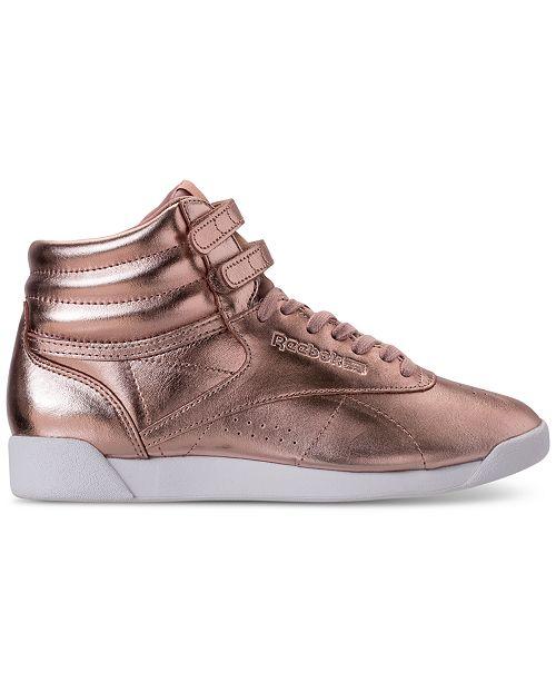 90f21d13171 Reebok. Women s Freestyle Hi Top Metallic Casual Sneakers from Finish Line.  1 reviews  reebok classic ...