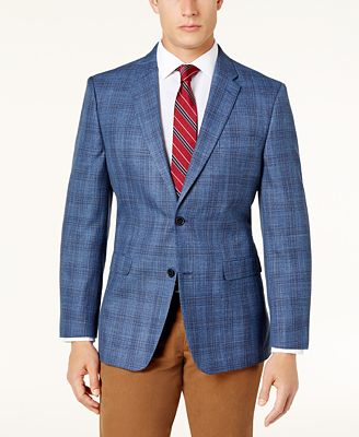 Tommy Hilfiger Men's Slim-Fit Blue Plaid Sport Coat