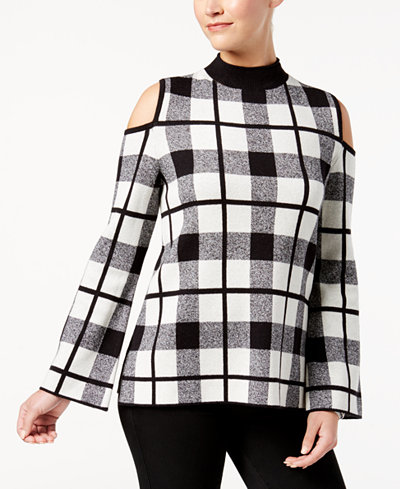 Style & Co Windowpane-Plaid Cold-Shoulder Sweater, Created for Macy's
