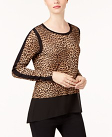 MICHAEL Michael Kors Mixed-Media Leopard-Print Top