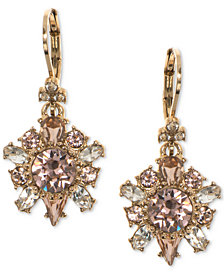 Marchesa Gold-Tone Multi-Crystal Drop Earrings