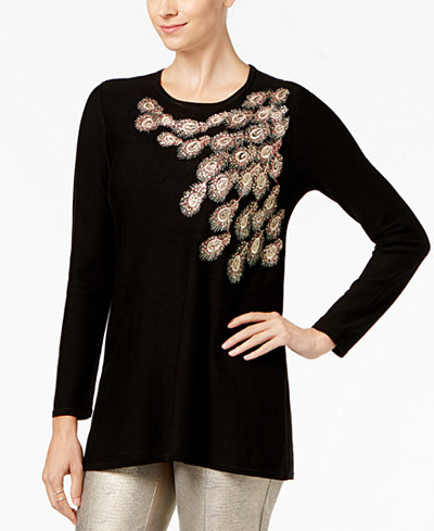 Alfani Petite Sequined Embroidered Sweater, Created for Macy's