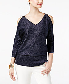 Thalia Sodi Metallic Dolman Cold-Shoulder Sweater, Created for Macy's