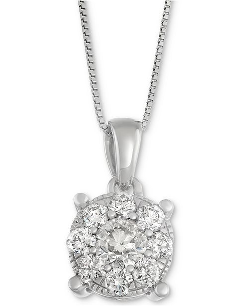 Macys diamond pendant necklace in 14k white gold 1 ct tw main image main image aloadofball Image collections