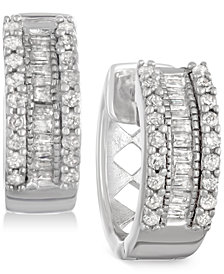 Diamond Huggy Hoop Earrings (1/4 ct. t.w.) in Sterling Silver