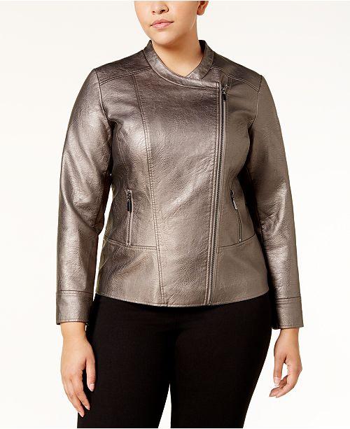 cfece5b8f4211 Alfani Plus Size Metallic Moto Jacket