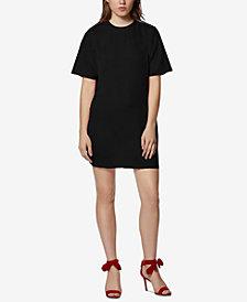 Avec Les Filles Satin-Front Sweatshirt Dress