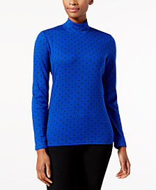 Karen Scott Petite Polka-Dot Mockneck Top, Created for Macy's