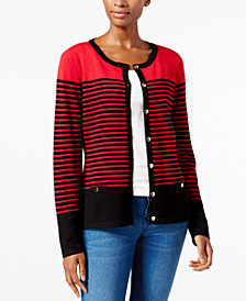 Karen Scott Petite Striped Cardigan, Created for Macy's