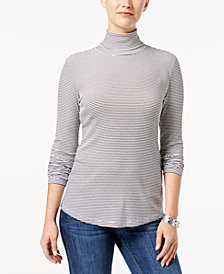 Style & Co Micro-Striped Turtleneck Top, Created for Macy's