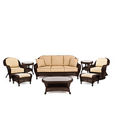 Monterey Outdoor Wicker 8-Pc. Seating Set with Sunbrella® Cushions  (1 Sofa, 1 Club Chair, 1 Swivel Glider, 2 Ottomans, 1 Coffee Table and 2 End Tables), Created for Macy's