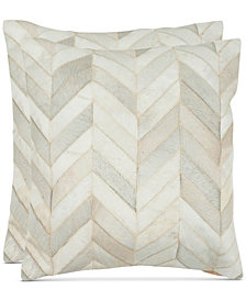 """Sandee Cowhide 22"""" Pillow Set Of 2, Quick Ship"""