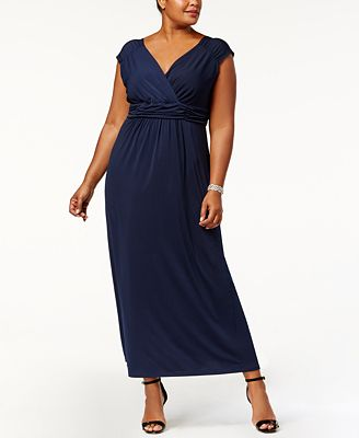 ny collection plus size ruched empire maxi dress - dresses - plus