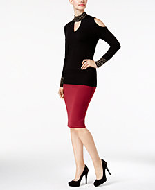 Thalia Sodi Studded Mock-Neck Sweater & Scuba Pencil Skirt, Created for Macy's