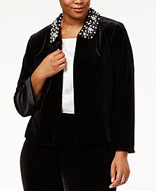 Tahari ASL Plus Size Beaded-Collar Cropped Jacket