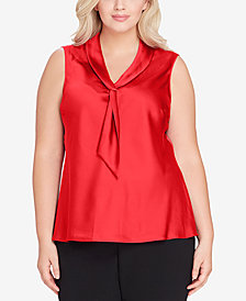 Tahari ASL Plus Size Tie-Neck Top