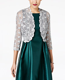 R&M Richards Scalloped Sequin Lace Bolero