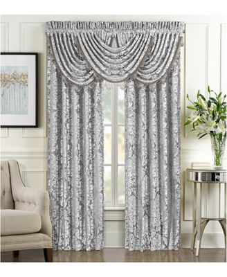 """Bel Air Tufted-Chenille Silver 33"""" x 49"""" Waterfall Window Valance"""