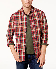 BS by Blake Shelton Men's Plaid Woven Shirt, Created for Macy's