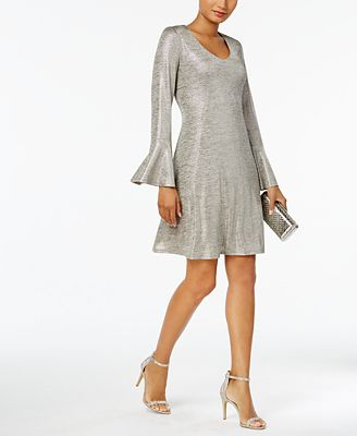 Connected Bell-Sleeve Metallic Shift Dress, Regular & Petite Sizes,Created for Macy's
