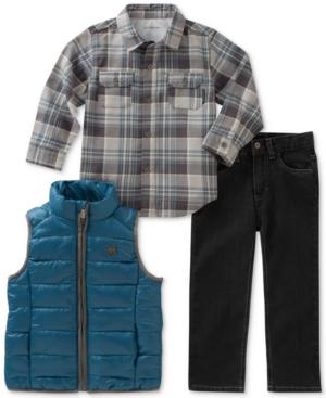 Calvin Klein 3Pc Plaid Shirt Vest  Pants Set Toddler Boys (2T5T)