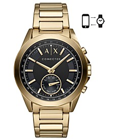 Men's Connected Gold-Tone Stainless Steel Bracelet Hybrid Smart Watch 44mm