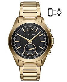 A|X Armani Exchange Men's Connected Gold-Tone Stainless Steel Bracelet Hybrid Smart Watch 44mm