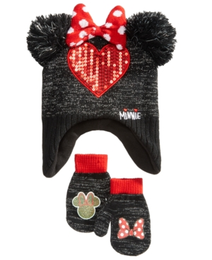 Berkshire 2Pc Minnie Mouse Heart Hat  Mittens Set Toddler Girls (2T5T)