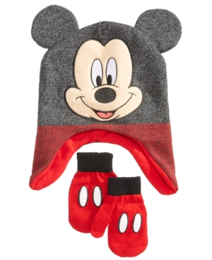 Berkshire 2Pc Mickey Mouse Hat  Mittens Set Toddler Boys (2T5T)