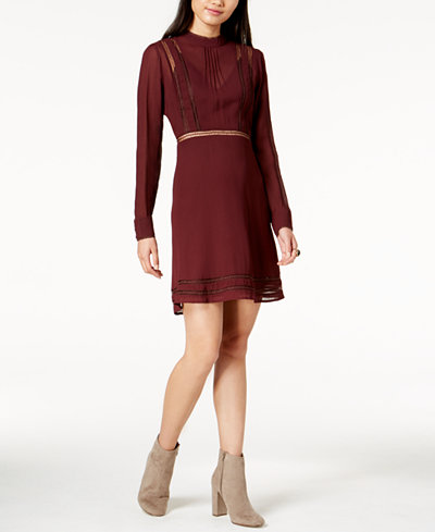 ASTR The Label Kirsten Lace-Trim Fit & Flare Dress