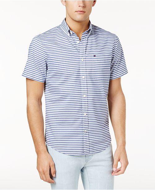 01c764db ... Tommy Hilfiger Men's Custom-Fit Melville Horizontal Stripe Shirt,  Created for Macy's ...