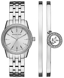 Michael Kors Women's Ritz Stainless Steel Bracelet Watch 33mm Gift Set