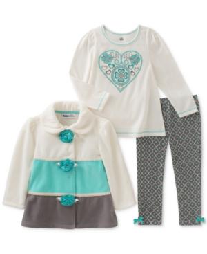 Kids Headquarters 3Pc Colorblocked Fleece Jacket TShirt  Leggings Set Toddler Girls (2T5T)