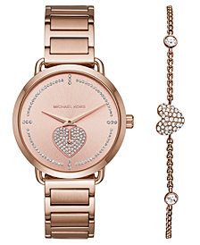 Michael Kors Women's Portia Rose Gold Stainless Steel Bracelet Watch 37mm Gift Set