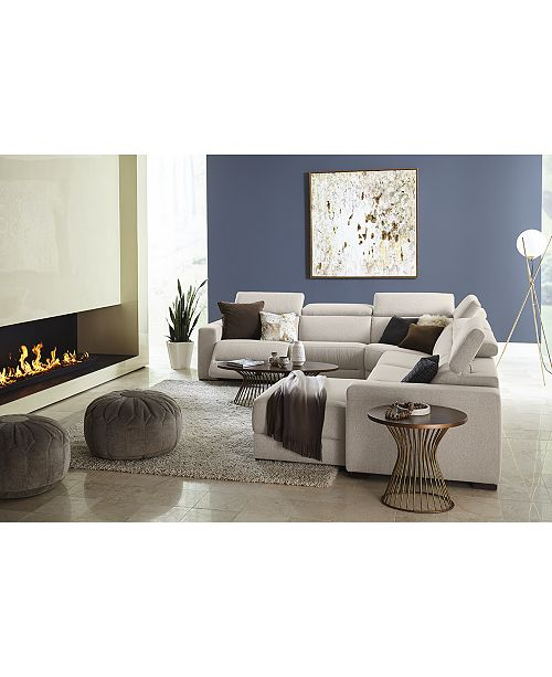 Furniture Nevio Leather Fabric Reclining Sectional Sofa With Articulating Headrests Collection Created For Macy S