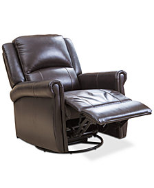 Brayala Leather Swivel Recliner, Quick Ship