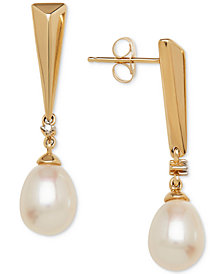 Cultured Freshwater Pearl (9 x 7mm) & Diamond Accent Drop Earrings in 14k Gold