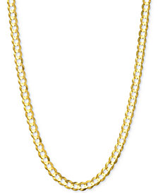 "28"" Open Curb Link Chain Necklace (3-5/8mm) in Solid 14k Gold"
