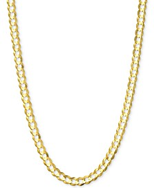 "18"" Open Curb Link Chain Necklace (3-5/8mm) in Solid 14k Gold"
