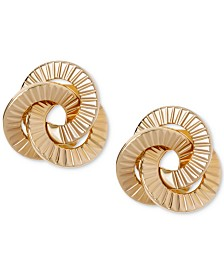 Textured Love Knot Stud Earrings in 10k Gold